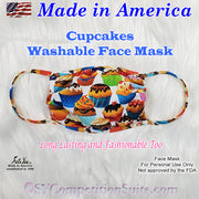 Washable Face Mask, made in America, cupcakes