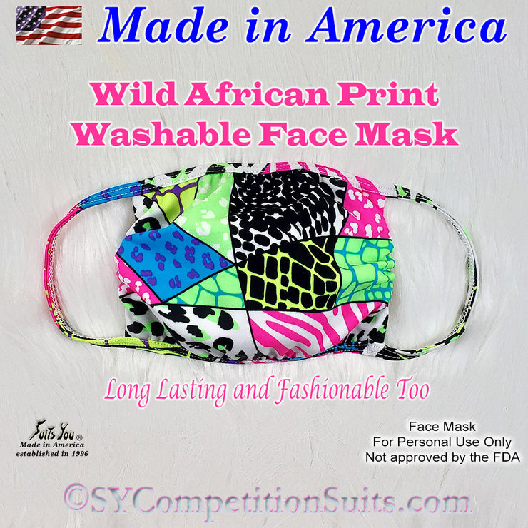 Face Mask, Made in America, Wild African Print