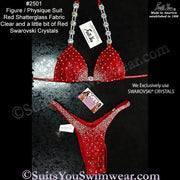 Figure Competition Suit or Physique Competition Suit, red