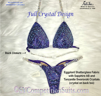 Ready to ship Full Crystal Competition Bikini, Eggplant 2-crystal