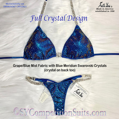 Ready to ship Full Crystal Competition Bikini, Grape