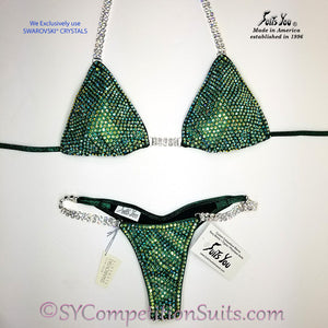 Ready to ship Crystal Competition Bikini, Green with Peridot