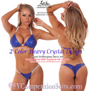 Competition Bikini, Gorgeous 2 Color Heavy Crystal, purple