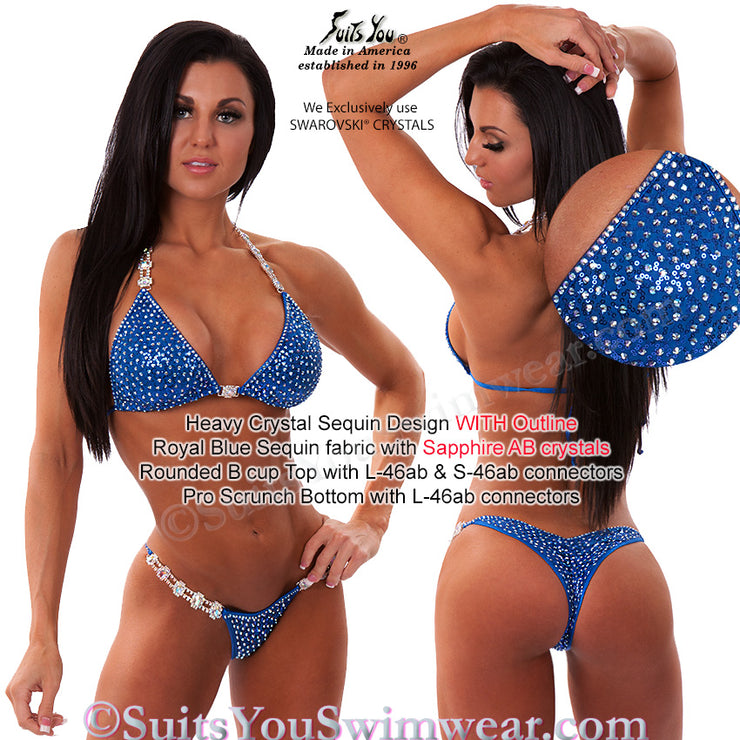 Sequin Competition Bikini, Heavy Crystal Sequin Design, blue