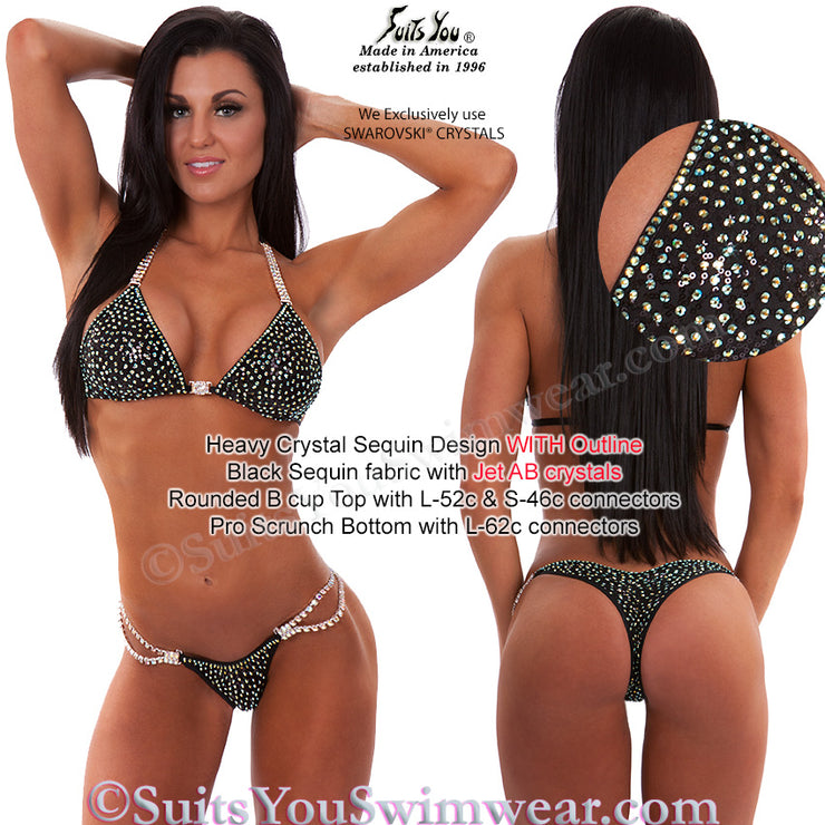 Sequin Competition Bikini, Heavy Crystal Sequin Design, black