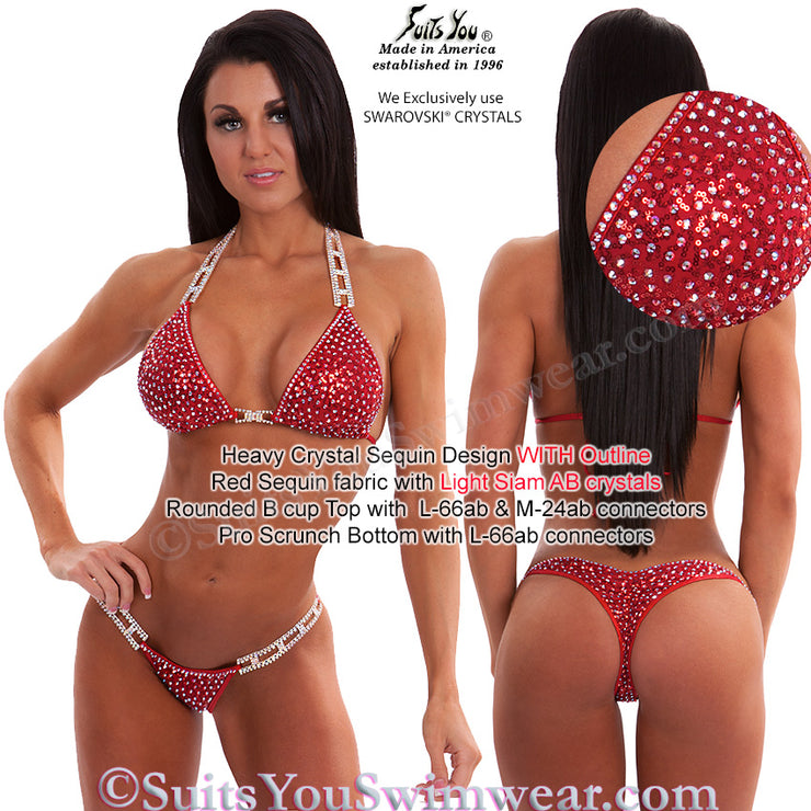 Sequin Competition Bikini, Heavy Crystal Sequin Design, red