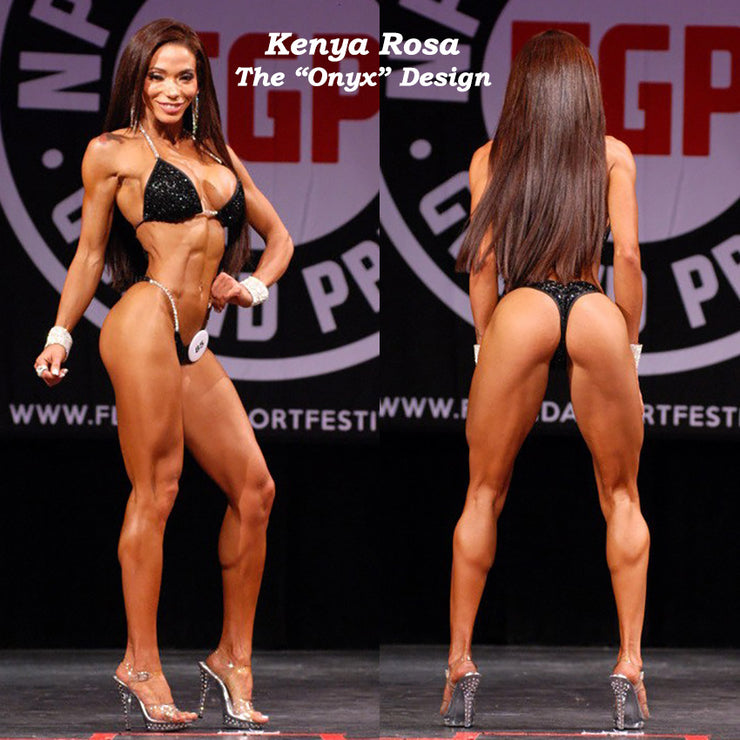 Onyx Competition Bikini, Pro Level Competition Suit, Kenya Rosa