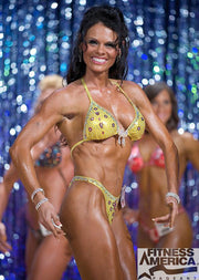 Figure Competition Suit or Physique Competition Suit yellow fabric