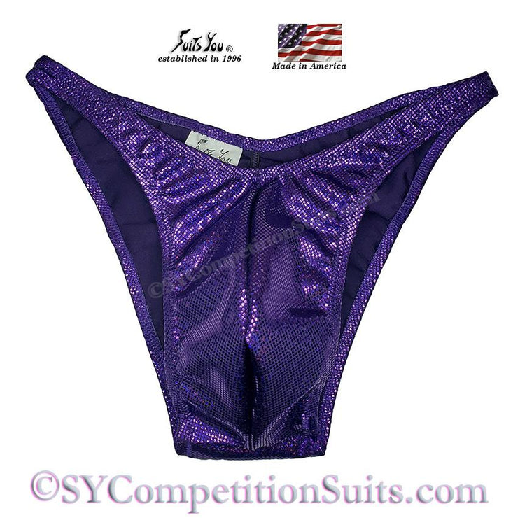 Men's Bodybuilding Suits, Rio Cut Holo with Gather back, eggplant