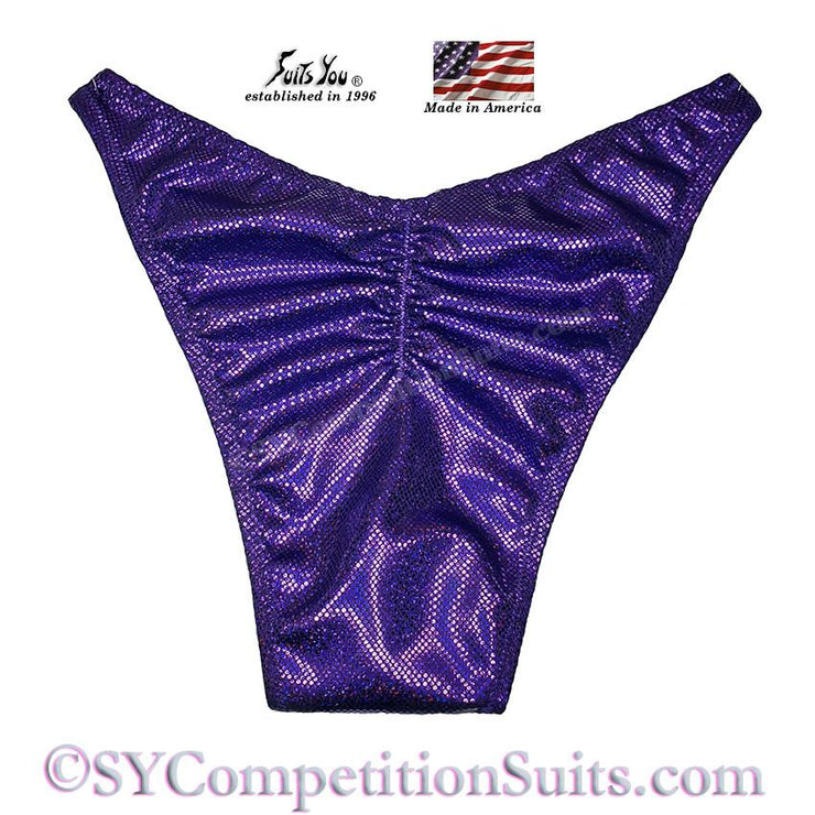Men's Bodybuilding Suits, Rio Cut Holo with Gather back, eggplant shatterglass