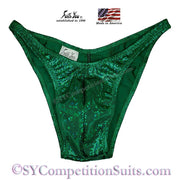 Men's Bodybuilding Suits, Rio Cut Holo with Gather back, kelly green shatterglass