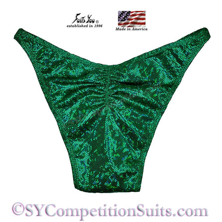 Men's Bodybuilding Suits, Rio Cut Holo with Gather back, kelly green