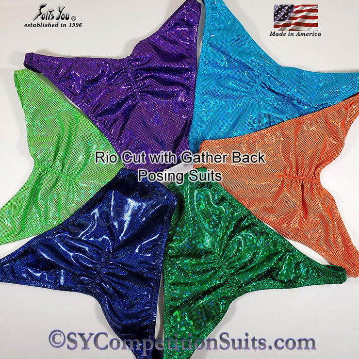 Men's Bodybuilding Suits, Rio Cut Holo with Gather back