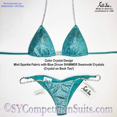 Ready to ship Crystal Competition Bikini, Mint with Blue Zircon Crystals