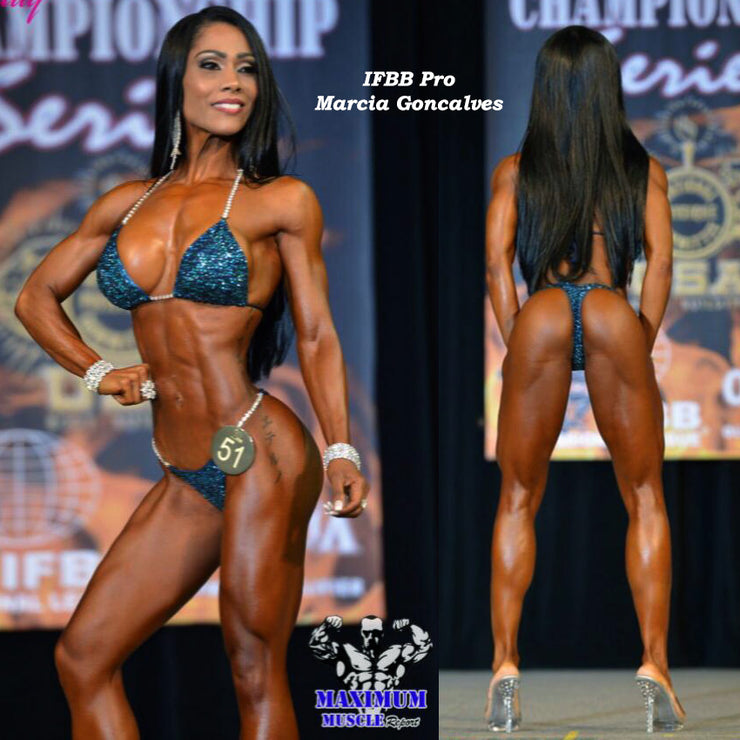 IFBB Pro Marcia Goncalves, The Navy Dream Competition Bikini, Pro-Level Suit