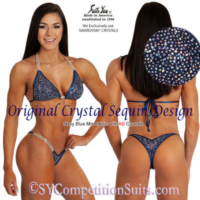 Original Crystal Sequin Competition Bikini, navy sequin fabric