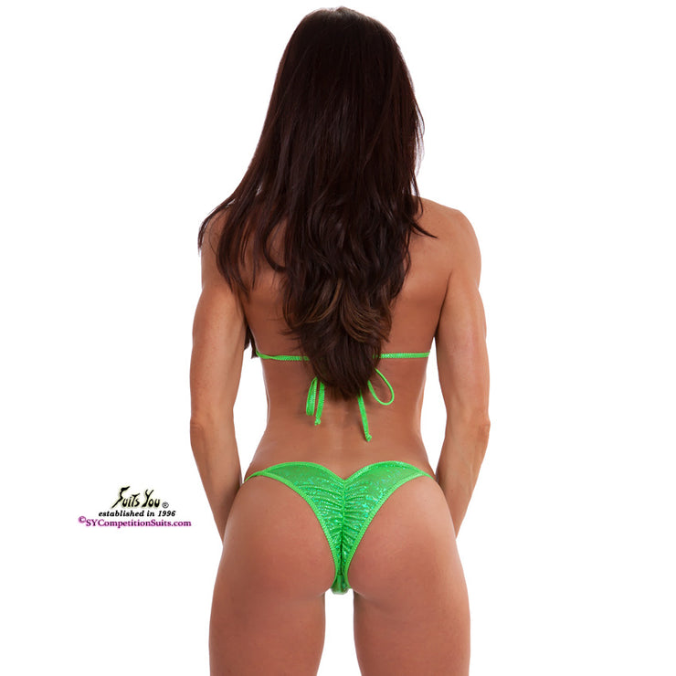 Adjustable posing practice bikinis with pro-cut bottom, lime