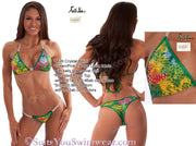 WBFF Multi Color Crystal Competition Bikini, Unique Crystal Design