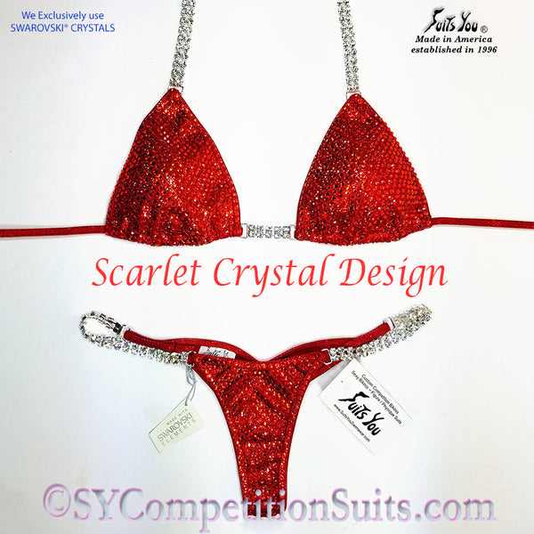 Ready to ship Crystal Competition Bikini, Scarlet Design
