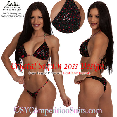 Competition Bikini, Sequin Crystal Bikini, 20ss Design SYCS220, black with red