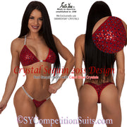 Competition Bikini, Sequin Crystal Bikini, 20ss Design SYCS220, red with blue