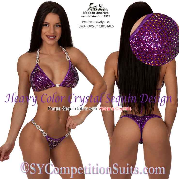 Crystal Sequin Competition Bikini, Purple Sequin Fabric