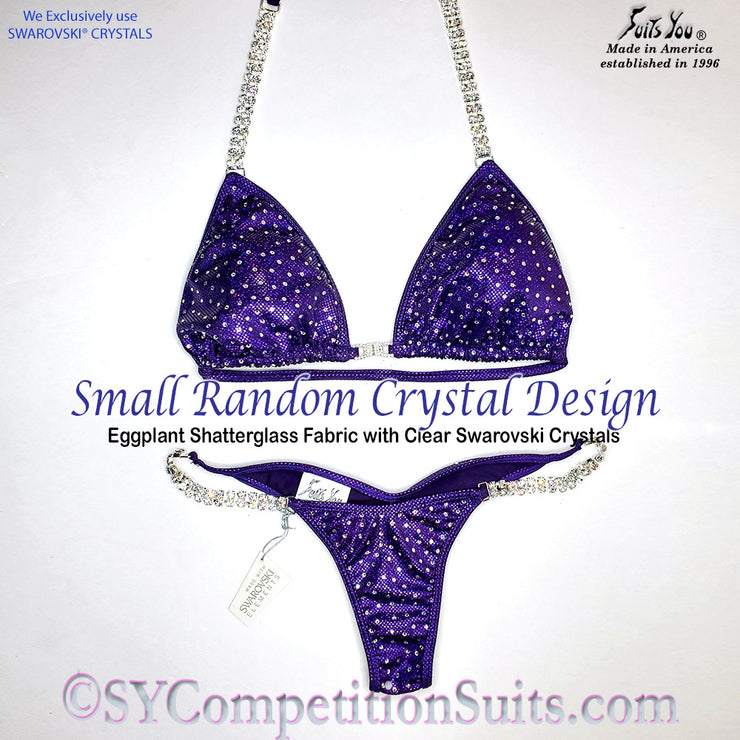 Ready to ship Crystal Competition Bikini with Small Random Clear Crystals
