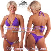 Competition Suit, Small Random Crystal Bikini, purple