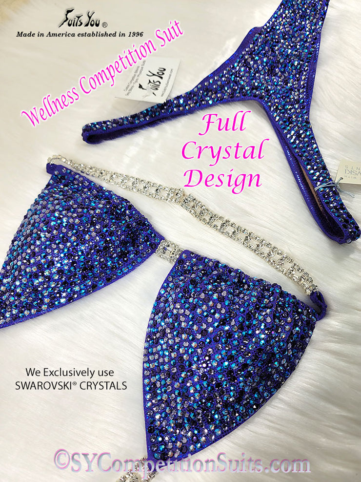 In Stock Wellness Suits, Full Crystal Design, Purple