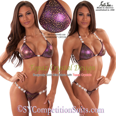 Competition Bikini, Gorgeous Topaz Crystal Design, SYCS92