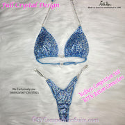 Wellness Bikini with bottom connectors, Baby Blue multi crystal