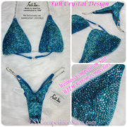 Wellness Bikini with bottom connectors, Turquoise multi crystal