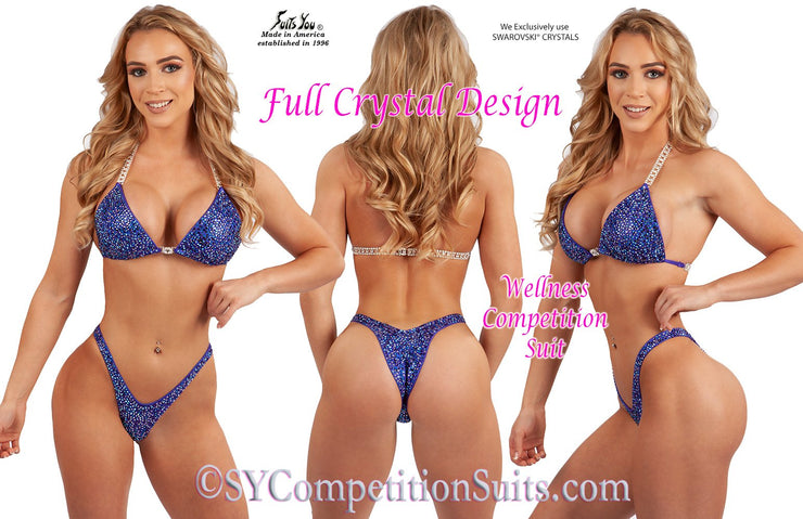 Wellness Competition Suit, Full Crystal Design, Multi-Colors