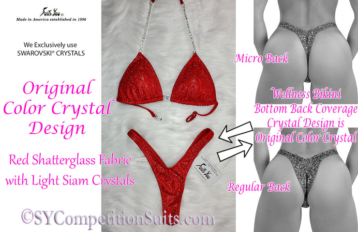 Original COLOR Crystal Design Wellness Competition Suit. Red