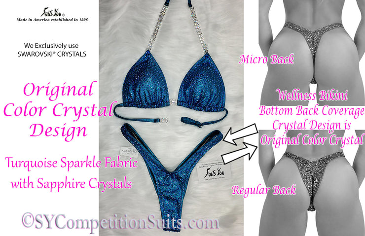 Original COLOR Crystal Design Wellness Competition Suit. Turquoise