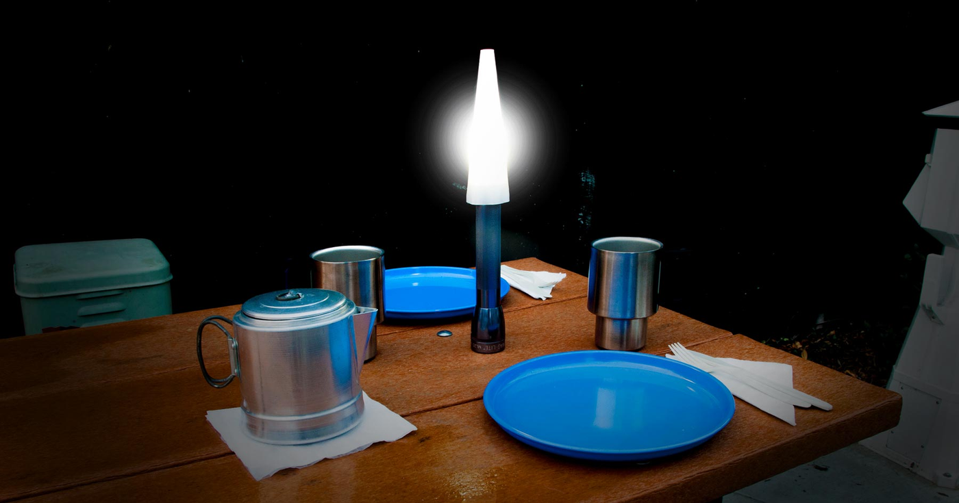 camping light on table