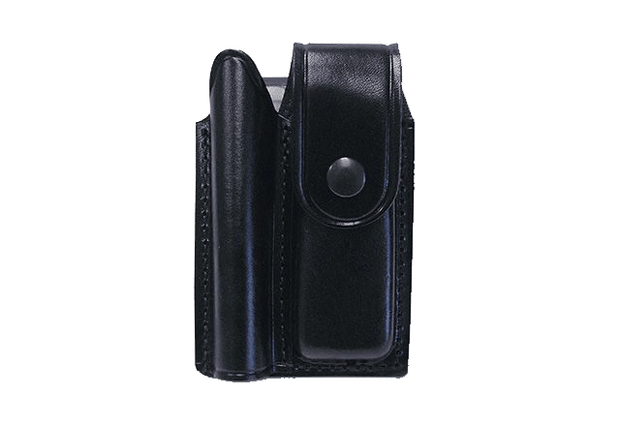 Double Leather Holster for Flashlight and Folding Knife