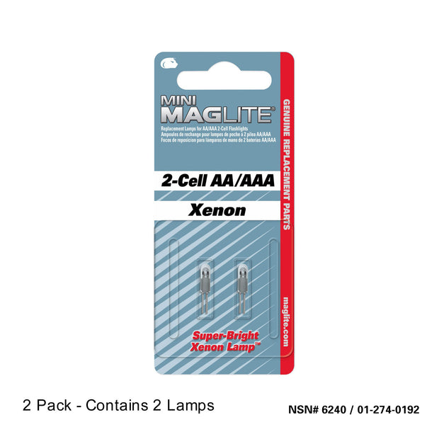 Replacement Xenon Lamp-Bulb for Mini Maglite 2-Cell AA/AAA Flashlight