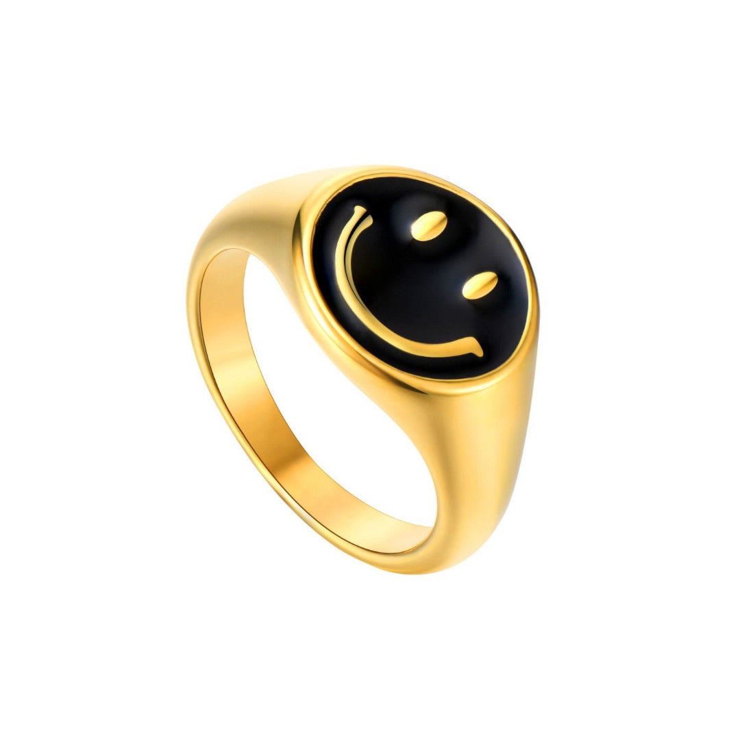 ANILLO SMILEY BLACK GOLD
