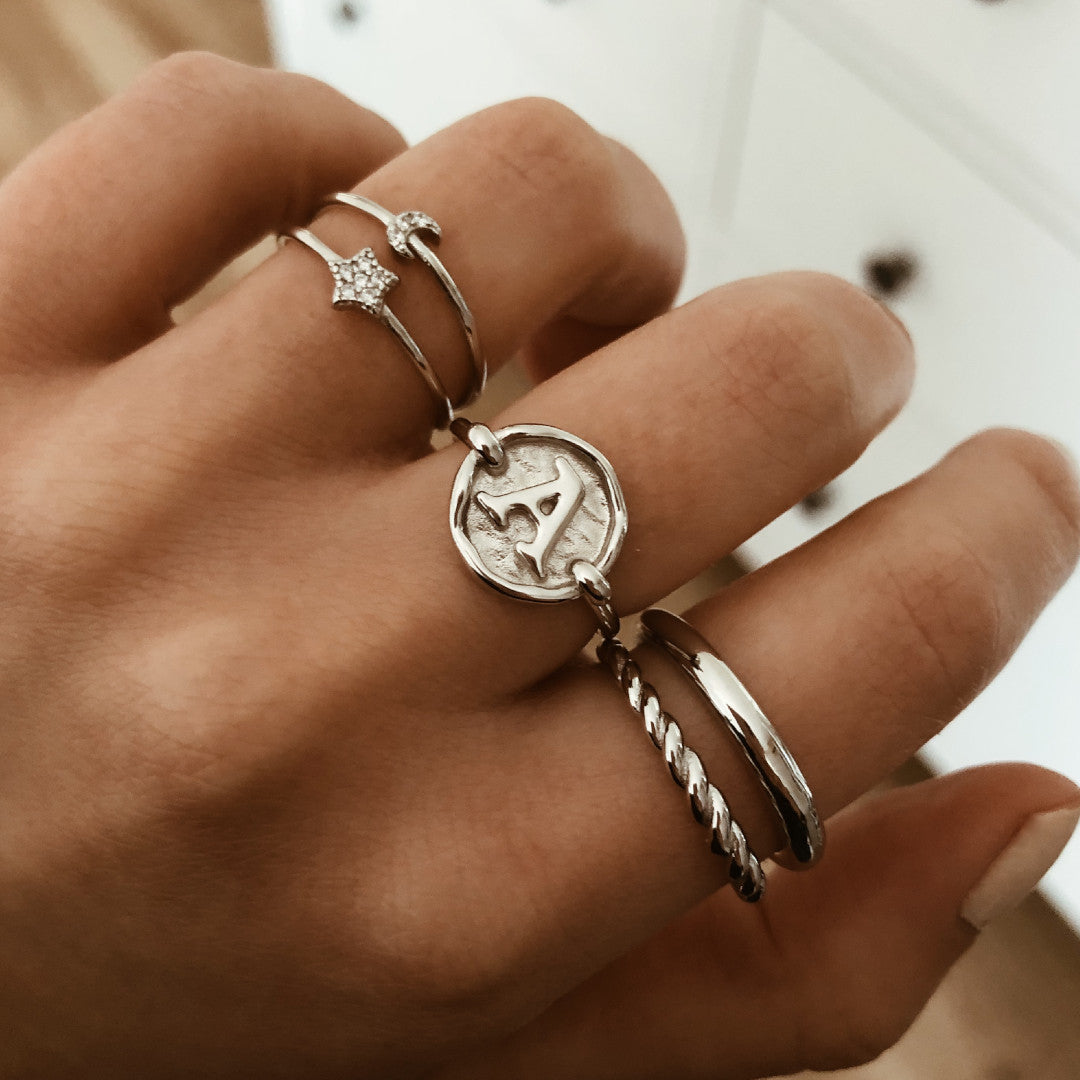 ANILLO STAMP INITIAL SILVER