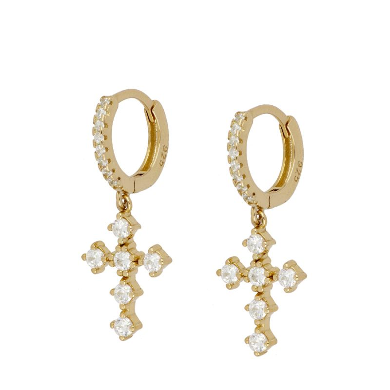 PENDIENTES BAROQUE CROSS GOLD