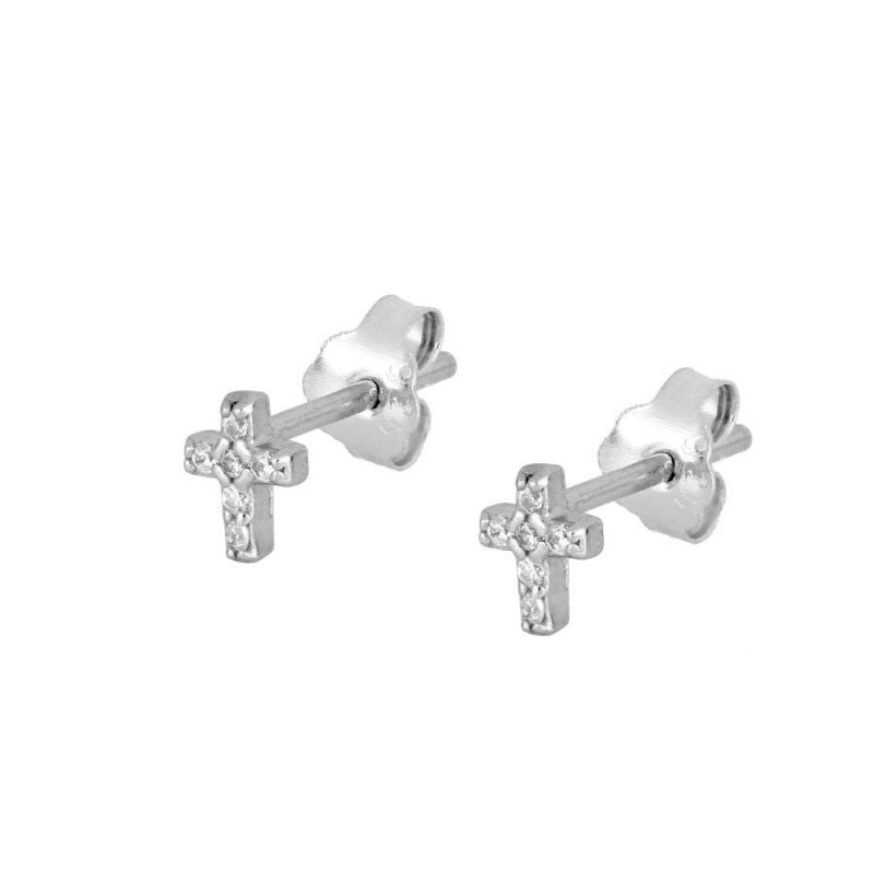 PENDIENTES MINI BRIGHT CROSS SILVER