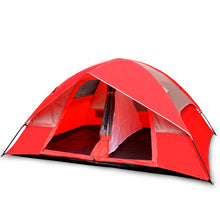 Load image into Gallery viewer, 5 Person Camping Tent, Red/Gray or Blue/Gray