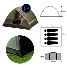 Load image into Gallery viewer, 3-4 Person Windbreak Camping Tent Dual Layer Waterproof Open Anti UV Tourist Tents For Outdoor Hiking Beach Travel