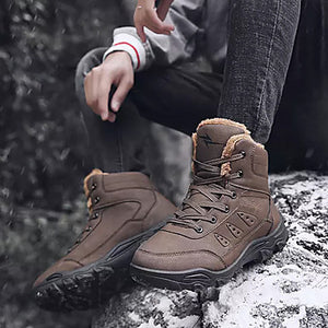 Men's Snow Boots Leather / PU(Polyurethane) Winter Casual Boots Non-slipping Mid-Calf Boots/ Camel