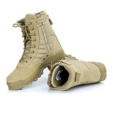Men's Comfort Shoes Leather Fall - Winter Sporty Boots - Booties - Ankle Boots Black - Khaki - Outdoor - Lace-up - Outdoor - Combat Boots
