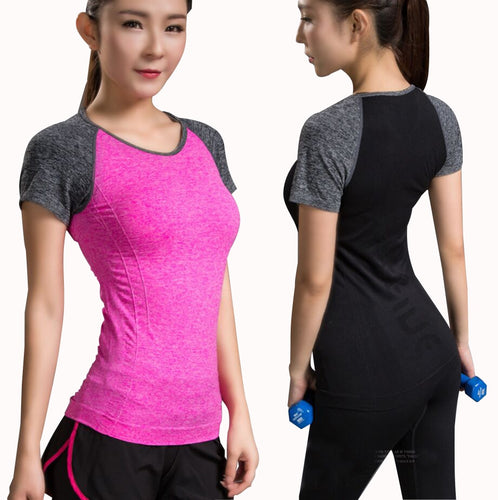 Quick Dry Stretch Patchwork Slim Fit Yoga Tops Women Sport T Shirt Gym Jerseys Fitness Shirt Trainer Running T-shirts Sports Top