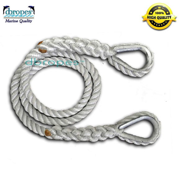 "3/4"" Three Strand Mooring Pendant 100% Nylon Rope with 2 Galvanized or SS Thimbles"