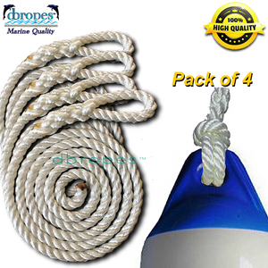 Fender Whips 100% Nylon Rope 3/8' X 8' - Pack of 4 - dbRopes