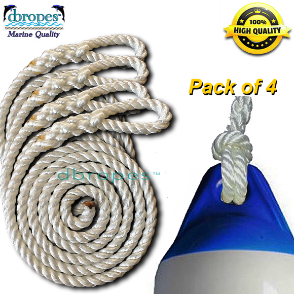 Fender Whips 100% Nylon Rope 3/8' X 6' - Pack of 4 (Fenders NOT included) - dbRopes